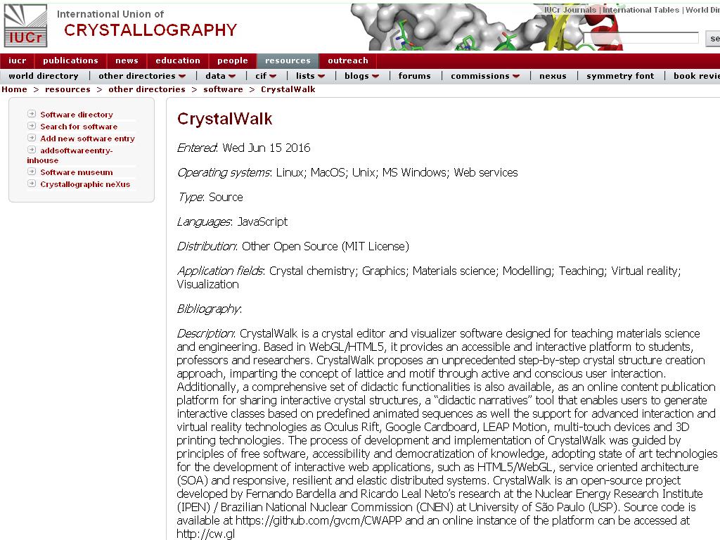 CrystalWalk record at International Union of Crystallography